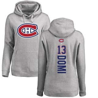 Women's Max Domi Montreal Canadiens Ash Backer Pullover Hoodie